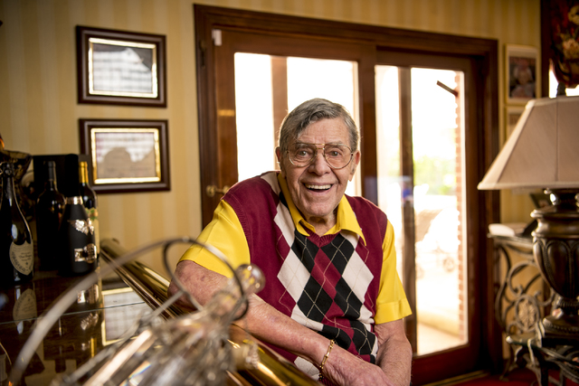 Jerry Lewis poses for a photo in his Las Vegas home Friday, Sept. 9, 2016. (Joshua Dahl/Las Vegas Review-Journal)