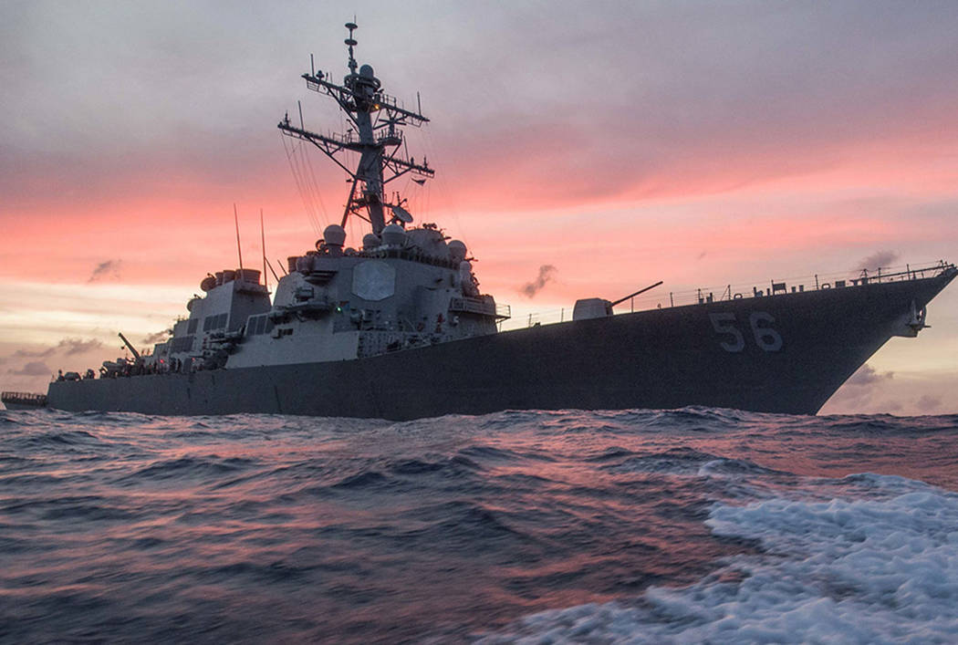 The USS John S. McCain conducts a patrol in the South China Sea while supporting security efforts in the region. (James Vazquez/U.S. Navy via AP)