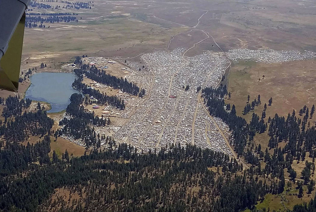 This Saturday, Aug. 19, 2017 photo provided by the Oregon State Police shows the crowd at the Big Summit Eclipse 2017 event near Prineville, Ore. (Oregon State Police via AP)
