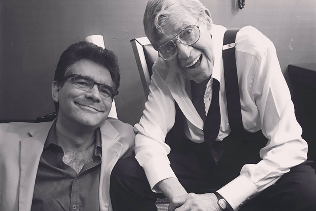 John Katsilometes shares a moment with Jerry Lewis after a show at the South Point in October 2016. (John Katsilometes/Las Vegas Review-Journal)