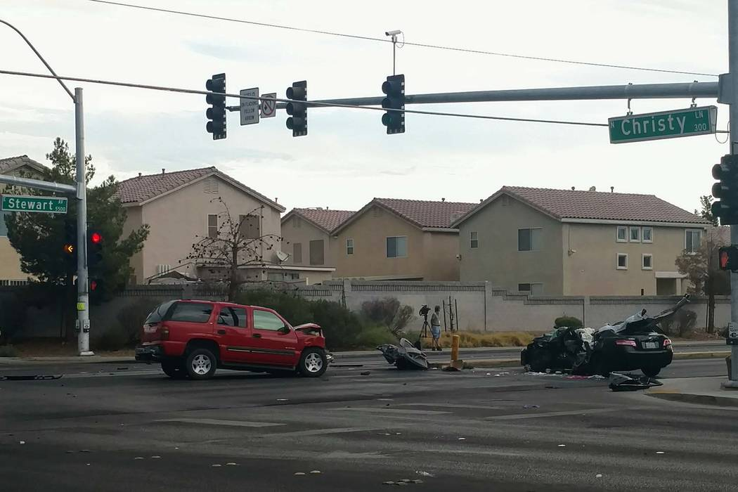 A man was custody after a hit-and-run at Stewart Avenue and Christy Lane in east Las Vegas, Monday, Aug. 21, 2017. (Max Michor/Las Vegas Review-Journal)