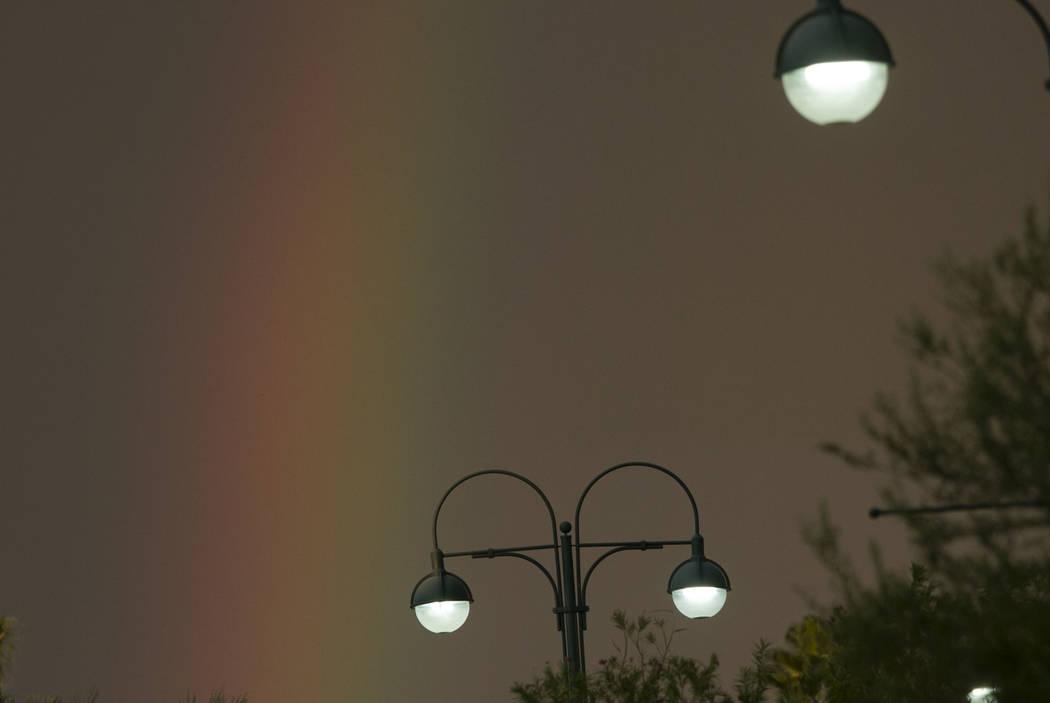 Vertical rainbow in the sky on Monday, Aug. 21, 2017, in Henderson. (Bizuayehu Tesfaye/Las Vegas Review-Journal) @bizutesfaye