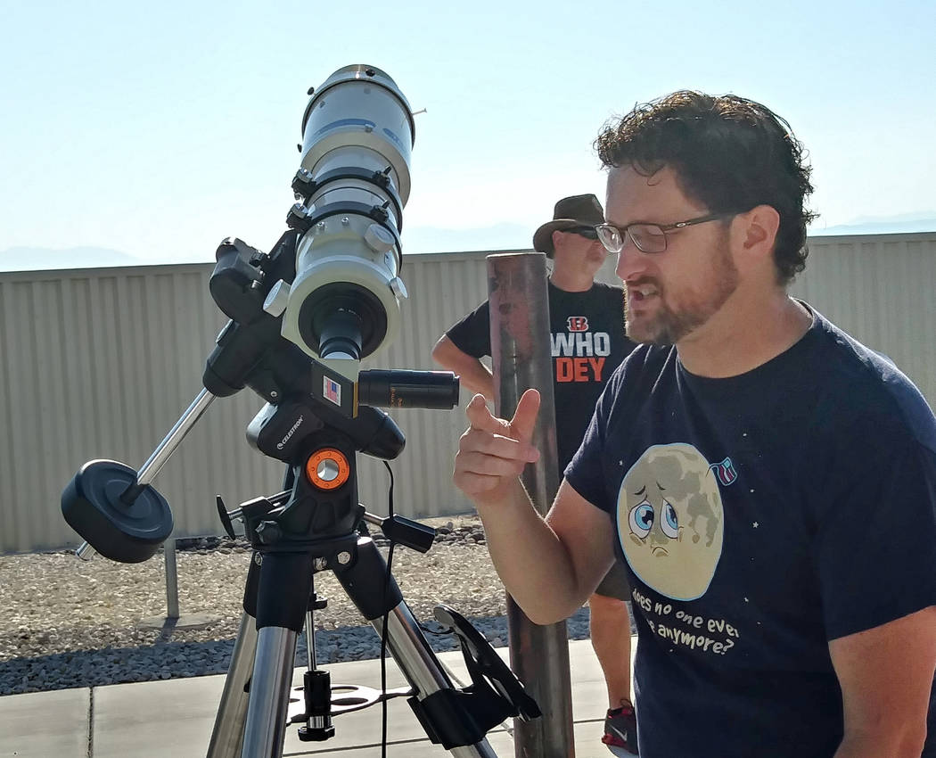 Tom Herring, director of the Jack C. Davis Observatory at Western Nevada College, talks about the eclipse at the facility's viewing event on Monday. Ben Botkin Las Vegas Review-Journal