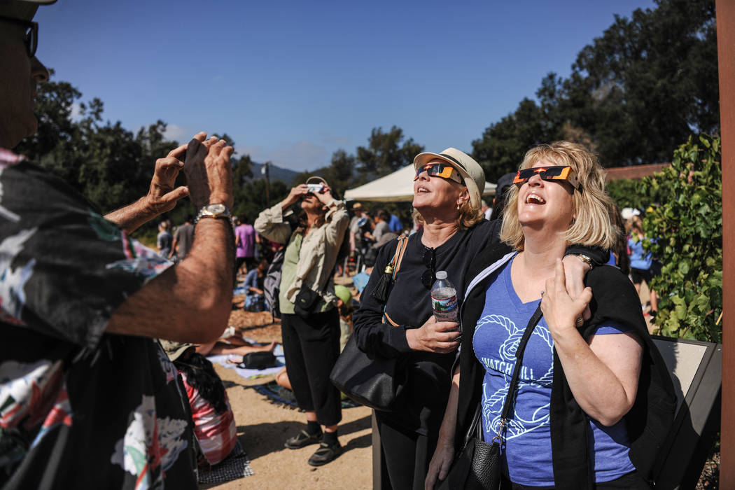 Tracey and Jeri anticipate the eclipse at King Gillette Ranch in Calabasas, California, on Monday, Aug. 21, 2017. Morgan Lieberman Las Vegas Review-Journal