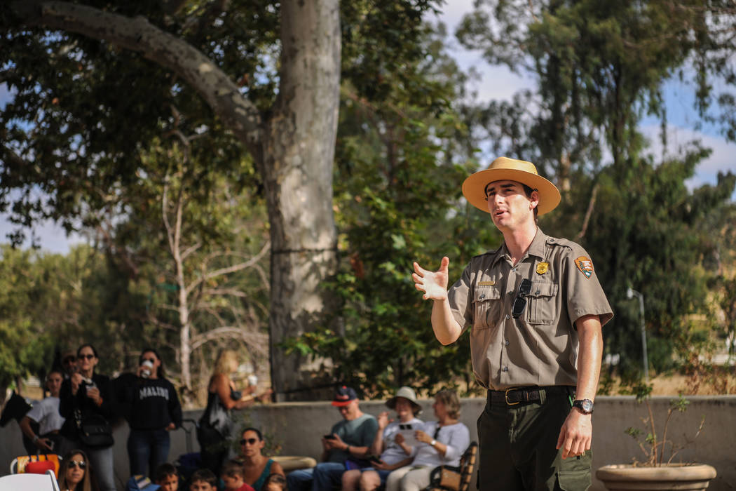 National Park Ranger Scott Sharaga gives a brief presentation about the eclipse before the big event at King Gillette Ranch in Calabasas, California, on Monday, Aug. 21, 2017. Morgan Lieberman Las ...