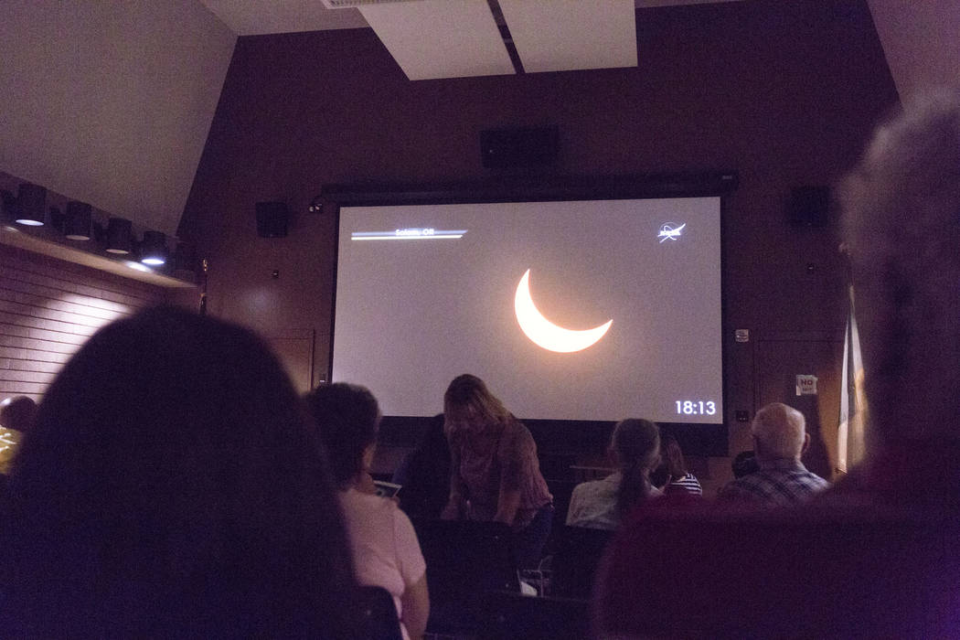 People fill the viewing room during the eclipse viewing party at the Lake Mead Visitor Center in Boulder City, Monday, Aug. 21, 2017. Elizabeth Brumley Las Vegas Review-Journal