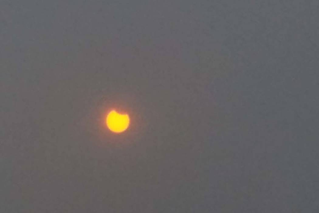 Solar eclipse beginning in Casper, Wyoming. (Rick Velotta/Las Vegas Review-Journal)