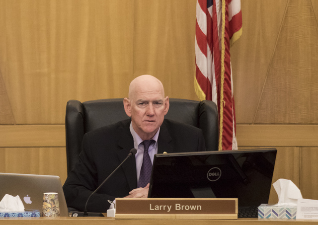 Clark County Commissioner Larry Brown during a commission meeting in Las Vegas on Tuesday, Jan. 17, 2017.  (Miranda Alam/Las Vegas Review-Journal) @miranda_alam