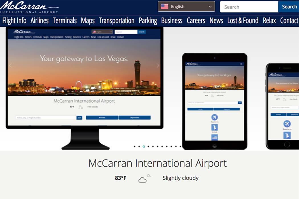 McCarran International Airport's new website (Screenshot)