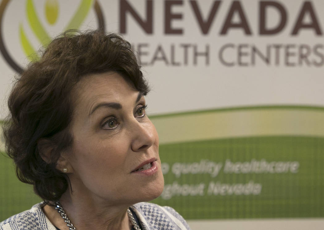 U.S. Rep. Jacky Rosen, D-Nev., speaks during an interview after hosting a press conference at Nevada Health Centers to discuss legislative efforts to address doctor shortage in Nevada  on Monday,  ...