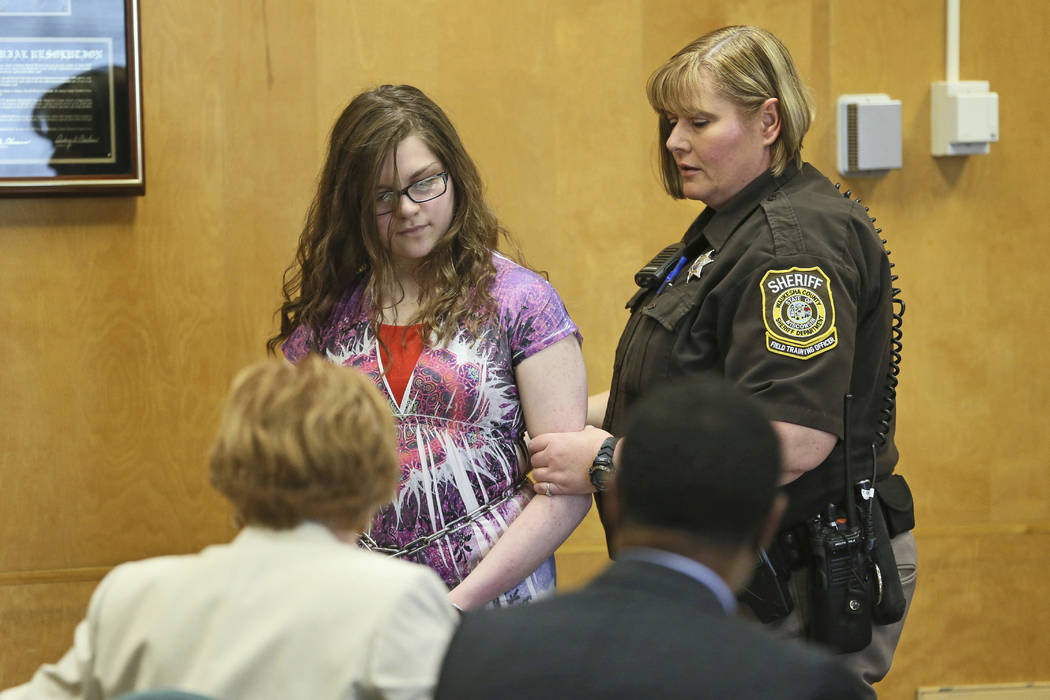 Anissa Weier, 15, appears in court Monday, Feb. 20, 2017, in Waukesha, Wisconsin. Weier, one of two Wisconsin girls charged with repeatedly stabbing a classmate to impress the fictitious horror ch ...