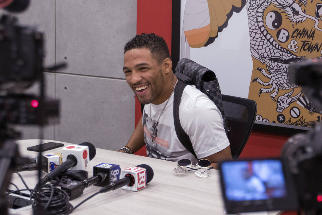 UFC lightweight Kevin Lee responds to media questions during a scrum at the UFC headquarters in Las Vegas on Monday, June 19, 2017. Heidi Fang/Las Vegas Review-Journal @HeidiFang