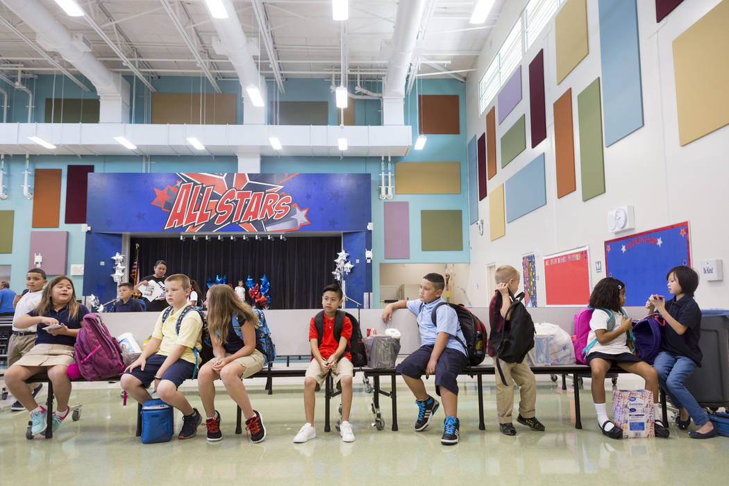 New students sit in the cafeteria on the opening day of Josh Stevens Elementary School in Henderson on Monday, Aug. 14, 2017. (Elizabeth Brumley/Las Vegas Review-Journal)