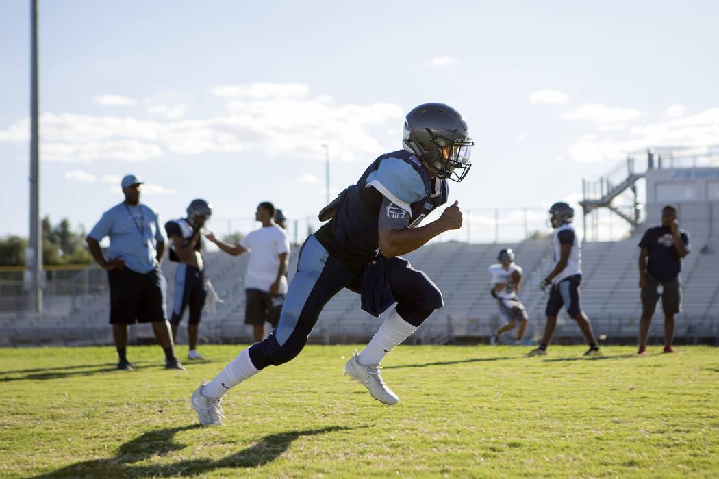Canyon Springs football player Diamante Burton runs drills during practice at Canyon Springs High School on Tuesday, Aug. 22, 2017, in North Las Vegas. Bridget Bennett Las Vegas Review-Journal @br ...