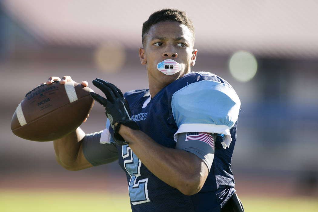 Canyon Springs football player Diamante Burton warms up during practice at Canyon Springs High School on Tuesday, Aug. 22, 2017, in North Las Vegas. Bridget Bennett Las Vegas Review-Journal @bridg ...