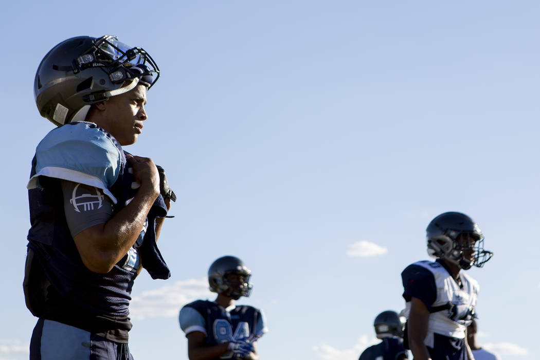 Canyon Springs football player Diamante Burton rests between drills during practice at Canyon Springs High School on Tuesday, Aug. 22, 2017, in North Las Vegas. Bridget Bennett Las Vegas Review-Jo ...