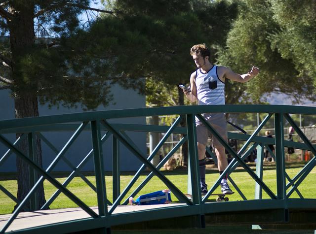 Luke Ellsworth rides his skateboard at O'Callaghan Park in Henderson on Friday, Nov. 11, 2016. Daniel Clark/Las Vegas Review-Journal Follow @DanJClarkPhoto