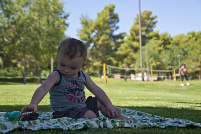 Logan Raffail plays in the shade as his grandmother Sherri throws a frisbee at O'Callaghan Park in Henderson on Tuesday, June 14, 2016. Daniel Clark/Las Vegas Review-Journal Follow @DanJClarkPhoto