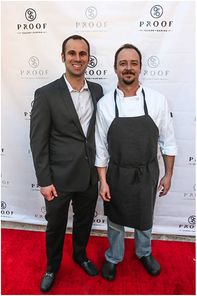 Proof Tavern owner Sam Tibolt, left, and Executive Chef Jon Littleton pose on the red carpet for the opening of the Lake Las Vegas restaurant. (Courtesy)