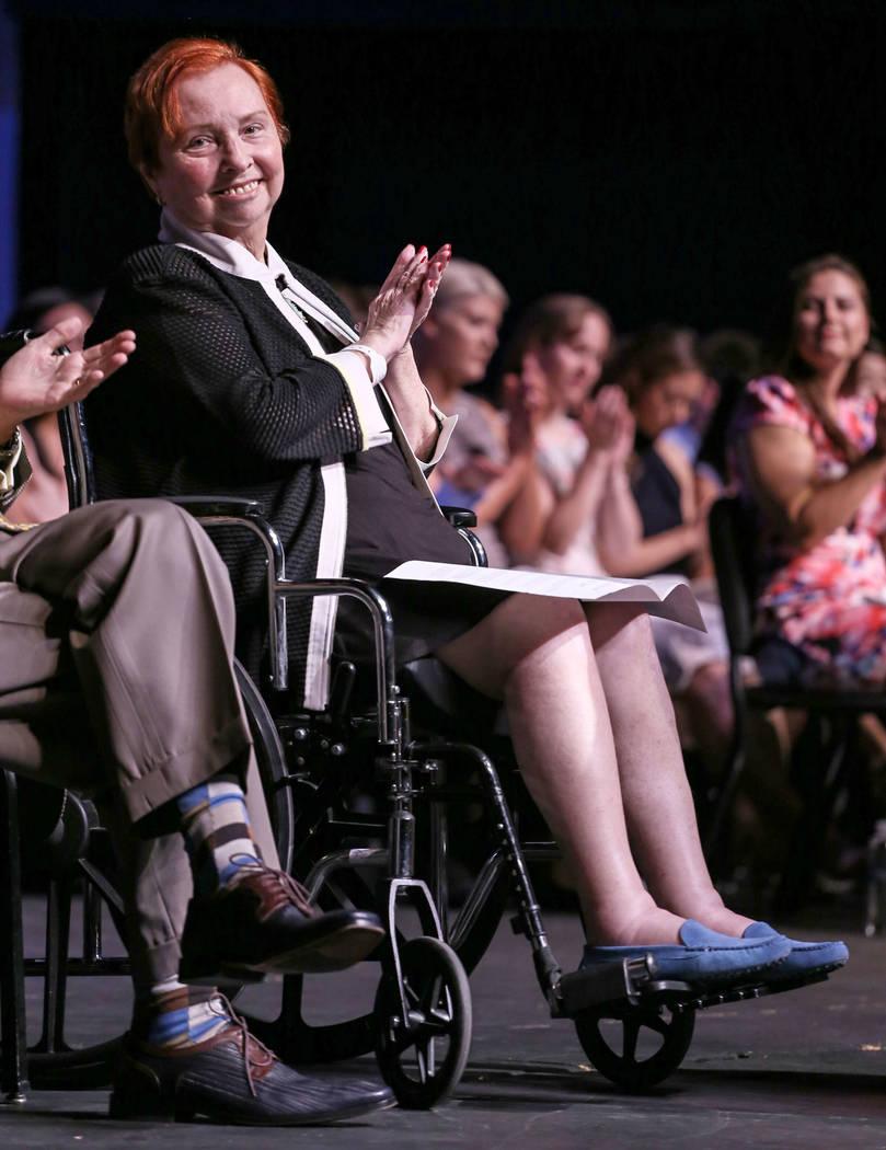 Dr. Barbara Atkinson applauses during UNLV School of Medicine's white coat ceremony in Las Vegas on Aug. 25, 2017. Joel Angel Juarez Las Vegas Review-Journal @jajuarezphoto