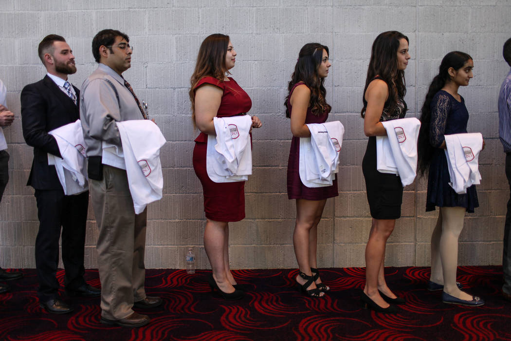 Students from the inaugural class of 2021 gather before the start of UNLV School of Medicine's white coat ceremony in Las Vegas on Aug. 25, 2017. Joel Angel Juarez Las Vegas Review-Journal @jajuar ...
