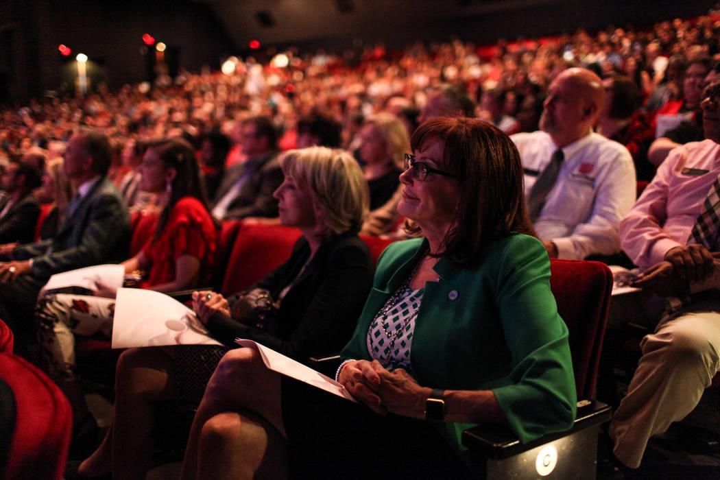Sallie Doebler of the Las Vegas Metro Chamber of Commerce sits during the UNLV School of Medicine white coat ceremony in Las Vegas on Aug. 25, 2017. Joel Angel Juarez Las Vegas Review-Journal @jaj ...
