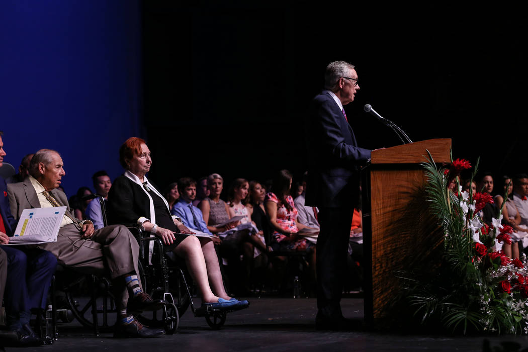 Senator Harry Reid speaks during UNLV School of Medicine's white coat ceremony in Las Vegas on Aug. 25, 2017. Joel Angel Juarez Las Vegas Review-Journal @jajuarezphoto
