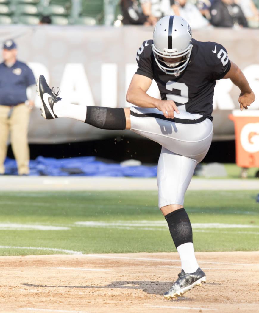 Oakland Raiders kicker Giorgio Tavecchio (2) goes through drills ahead of the NFL preseason football game against the Los Angeles Rams, Saturday, Aug. 19, 2017. Heidi Fang Las Vegas Review-Journal ...