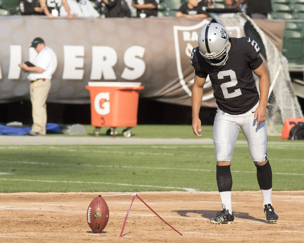 Oakland Raiders kicker Giorgio Tavecchio (2) during warm ups ahead of the NFL preseason football game against the Los Angeles Rams, Saturday, Aug. 19, 2017. Heidi Fang Las Vegas Review-Journal @He ...