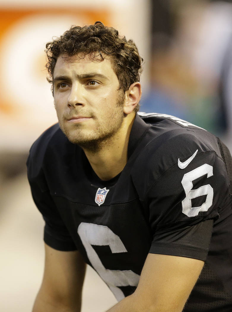 Oakland Raiders kicker Giorgio Tavecchio (6) against the Seattle Seahawks during the first half of an NFL preseason football game in Oakland, Calif., Thursday, Aug. 28, 2014. (AP Photo/Ben Margot)