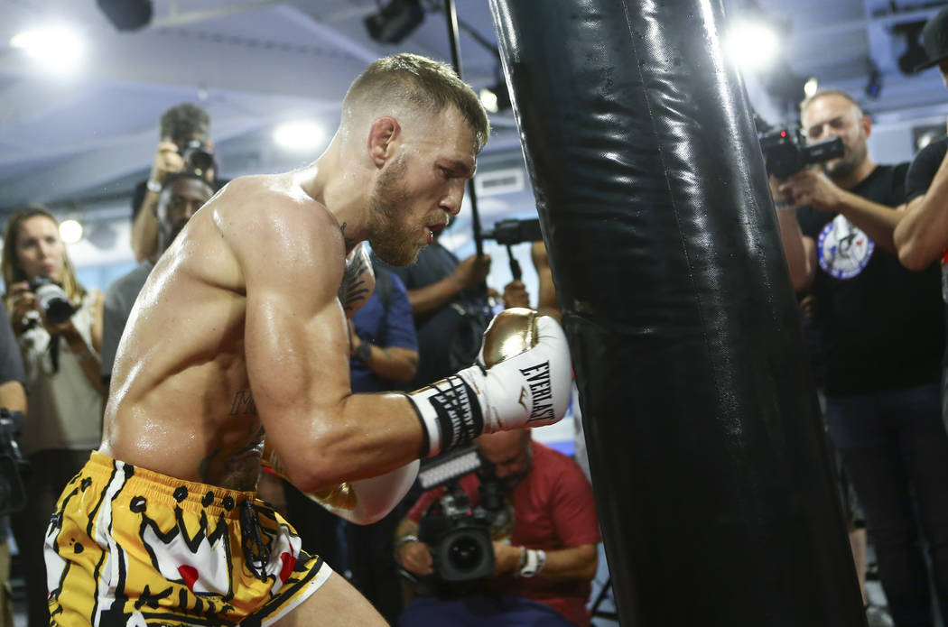 UFC fighter Conor McGregor works out ahead of his boxing match against Floyd Mayweather Jr. (Chase Stevens Las Vegas Review-Journal @csstevensphoto)