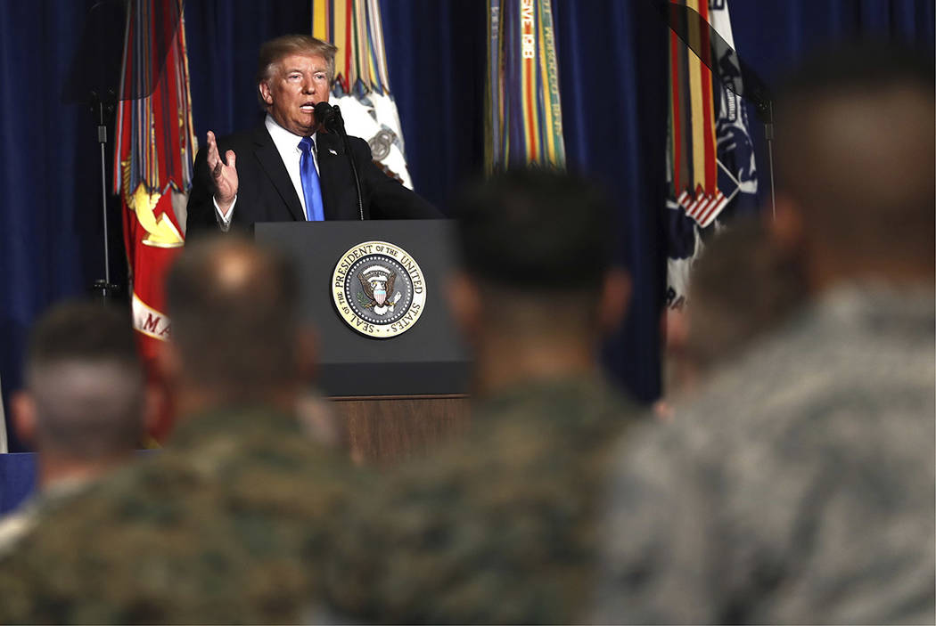 President Donald Trump speaks at Fort Myer in Arlington Va., Monday, Aug. 21, 2017, during a Presidential Address to the Nation about a strategy he believes will best position the U.S. to eventual ...