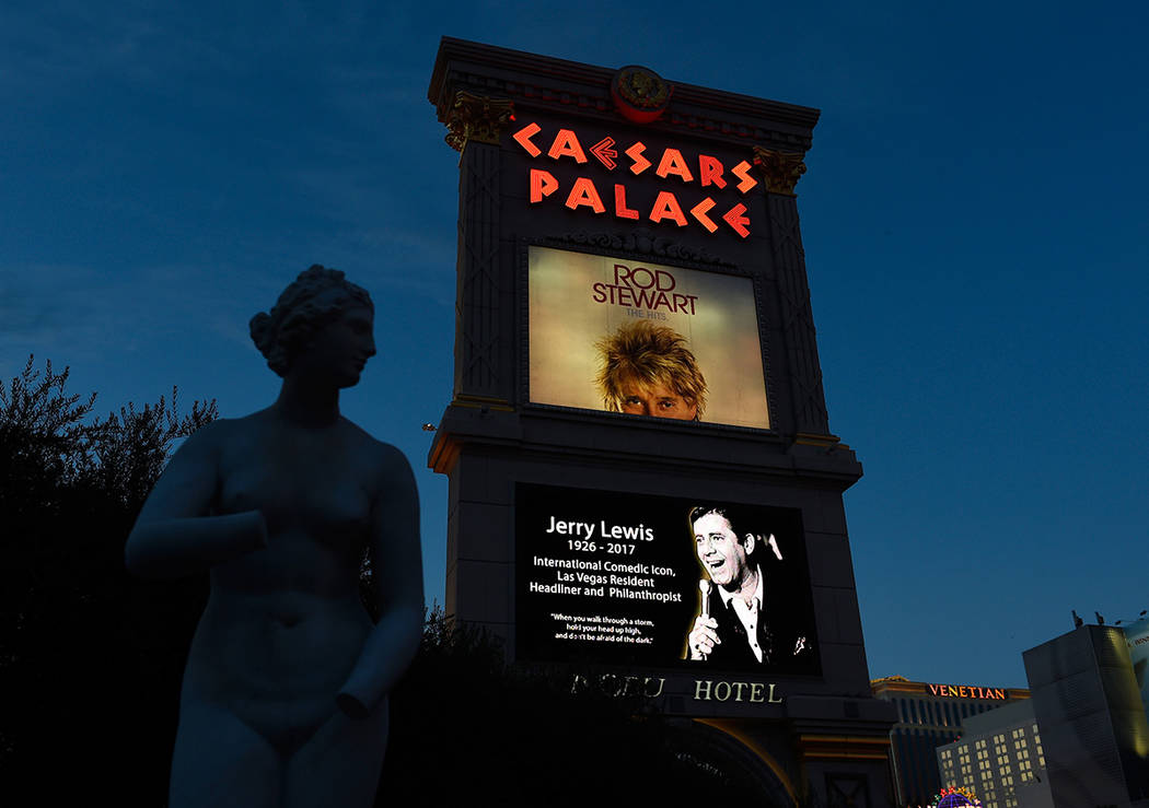 The marquee at Caesars Palace displays an image of legendary comedian, entertainer and humanitarian, Jerry Lewis Monday, Aug. 21, 2017, in Las Vegas. Resort properties and businesses throughout th ...