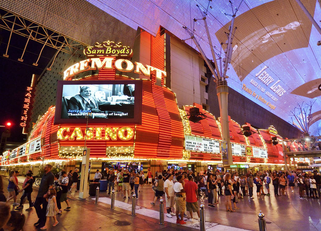 A tribute to Jerry Lewis is shown on the marquee of the Fremont hotel-casino and the canopy of the Fremont Street Experience in downtown Las Vegas on Monday, Aug. 21 2017. (Photo/Las Vegas News Bu ...