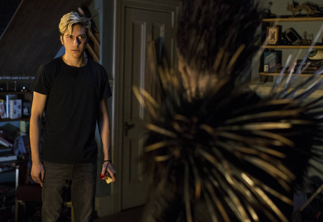 "Light (Nat Wolff) confronts Ryuk in a scene from ""Death Note."" (James Dittiger/Netflix)"