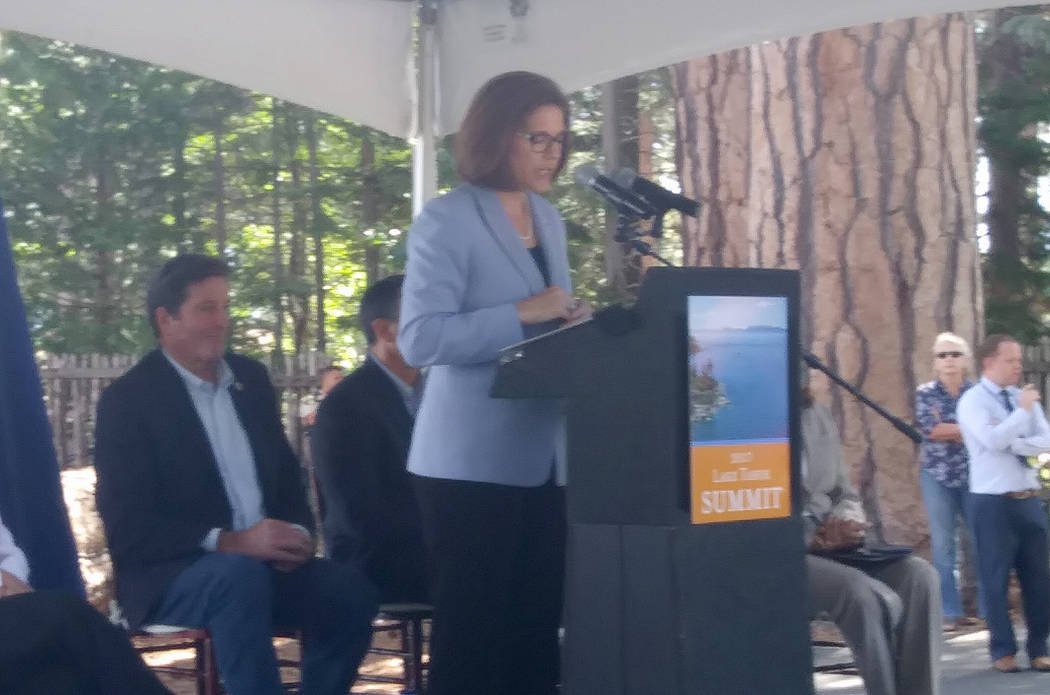 Sen. Catherine Cortez Masto, D-Nev., speaks Tuesday at the 21st Annual Lake Tahoe Summit in South Lake Tahoe, Calif. Tuesday, Aug. 22, 2017. The event was focused on ways to continue improving the ...