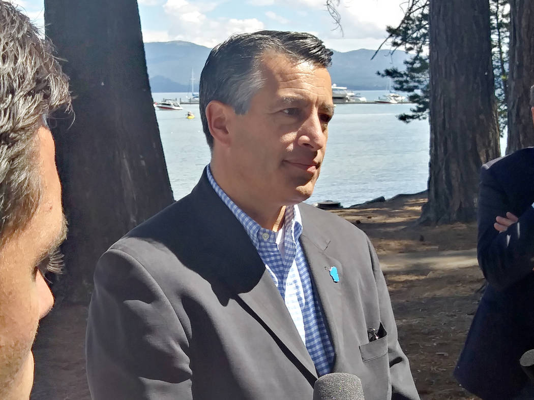 Republican Gov. Brian Sandoval talks to reporters on Tuesday at the 21st Annual Lake Tahoe Summit in South Lake Tahoe, Calif. Tuesday, Aug. 22, 2017. Ben Botkin Las Vegas Review-Journal