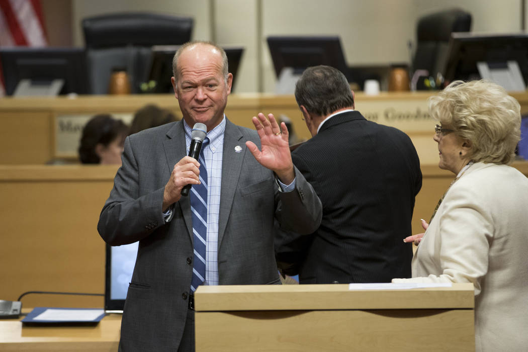 Las Vegas City Councilman Bob Beers, center, during his departure ceremony at Las Vegas City Hall on Wednesday, June 21, 2017. (Erik Verduzco/Las Vegas Review-Journal)