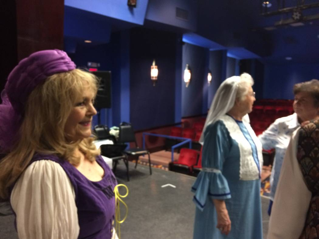 Adrienne Gentile, far left, and Jeane Cantor, center, get ready for their lines along with another actor Aug. 8, 2017, at Starbright Theatre. The actors knew their lines but this day was about blo ...