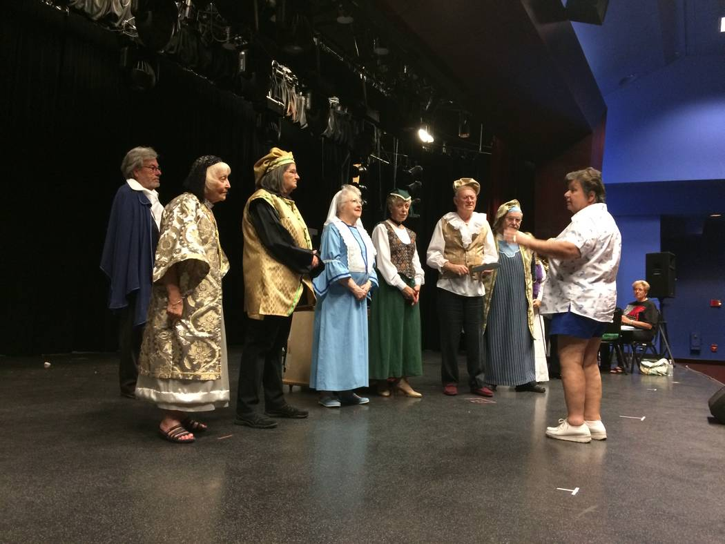 "Cassie MacGuire, far right, gives direction to Sun City Community Theater actors Aug. 8, 2017, at Starbright Theatre. The group is planning ""Shakespeare For People Who Hate Shakespeare."" (Jan Ho ..."