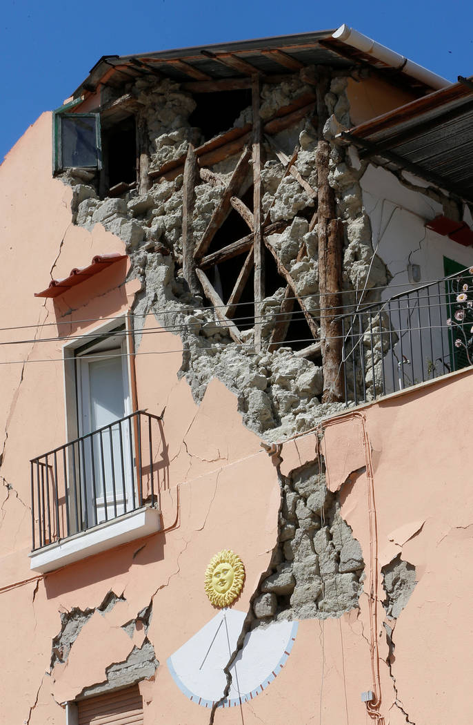 A damaged house after an earthquake hit the island of Ischia, off the coast of Naples, Italy, Aug. 22, 2017. (Ciro De Luca/Reuters)