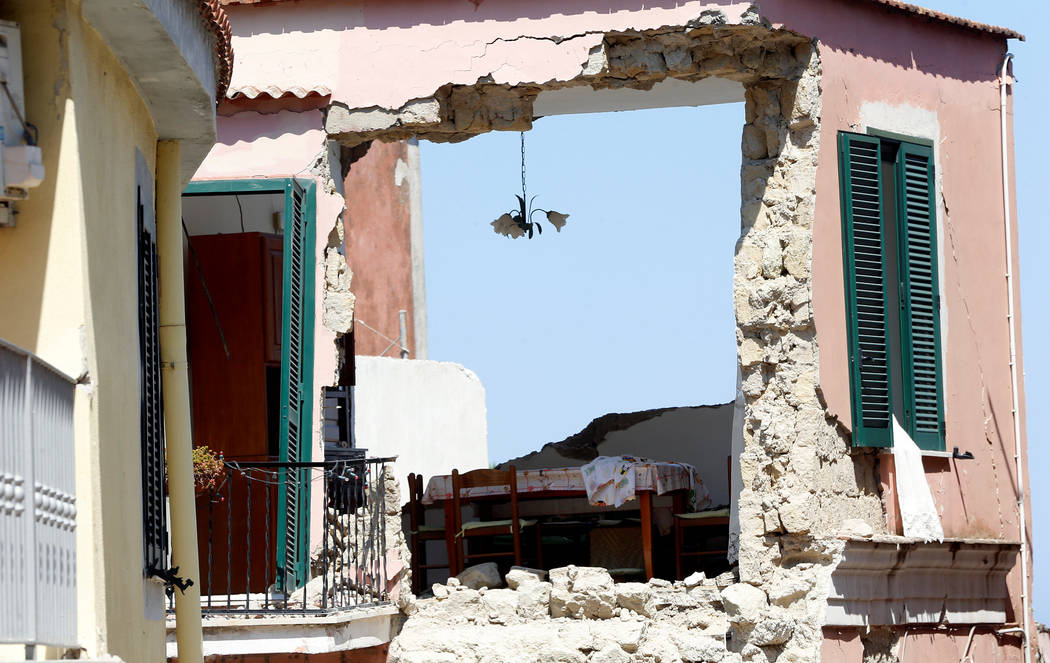 A damaged house is seen after an earthquake hit the island of Ischia, off the coast of Naples, Italy, Aug. 22, 2017. (Ciro De Luca/Reuters)