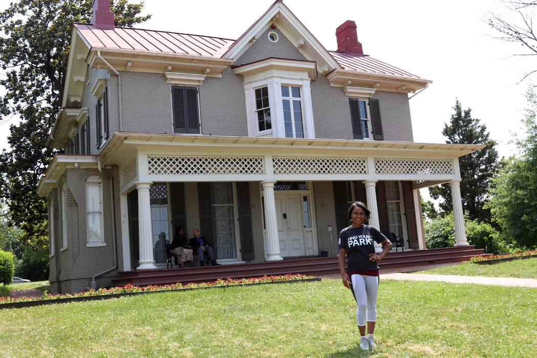 Gymnast and Olympic gold medalist Dominique Dawes visits the Frederick Douglass house in Washington, D.C., on June 15, 2017, as an ambassador for the National Park Service. The National Park Servi ...
