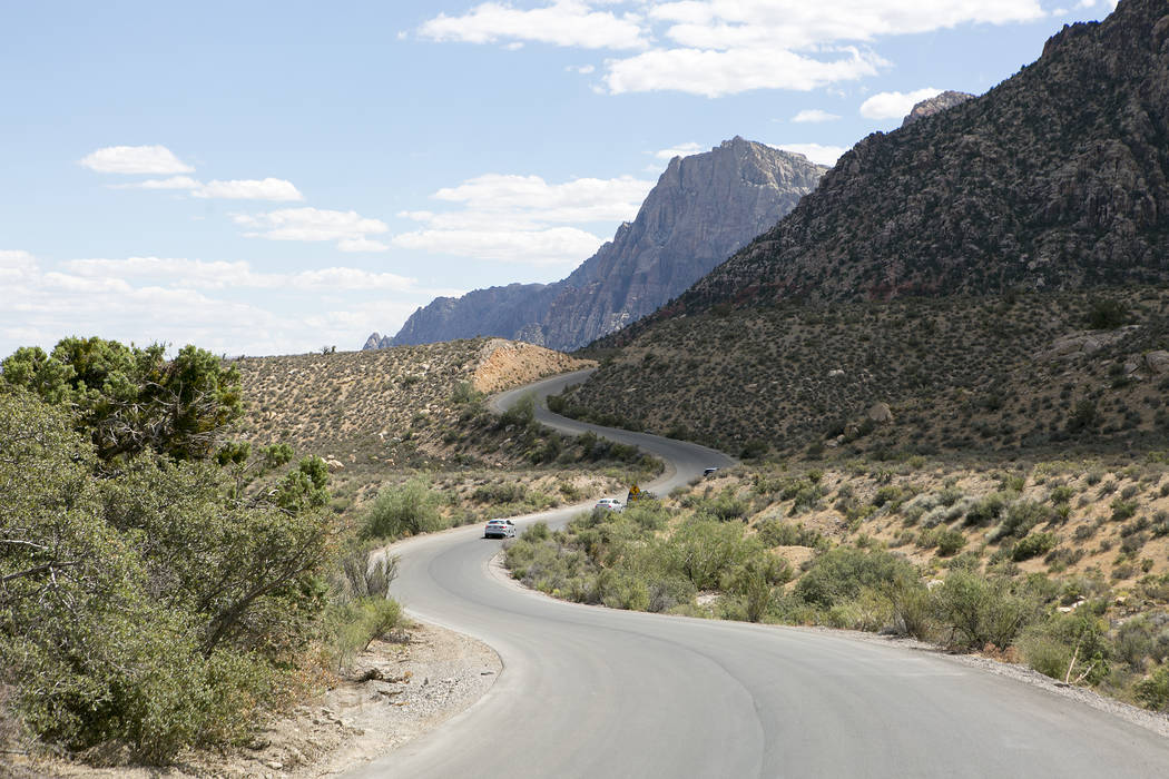Cars wind up part of the  scenic loop at Red Rock Canyon National Conservation Area on Tuesday, Aug. 22, 2017, in Las Vegas. (Bridget Bennett/Las Vegas Review-Journal) @bridgetkbennett