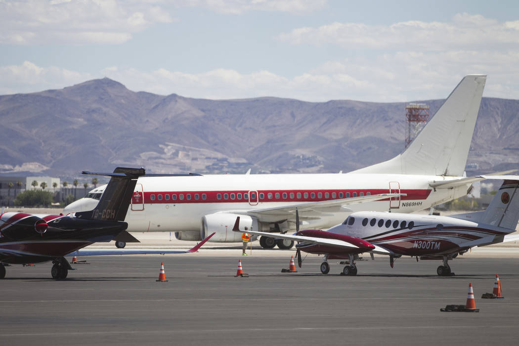 Private airplanes at the Signature Flight Support in Las Vegas, on Tuesday, Aug. 22, 2017. Erik Verduzco Las Vegas Review-Journal @Erik_Verduzco