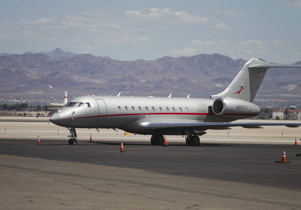 A private airplane at the Signature Flight Support in Las Vegas, on Tuesday, Aug. 22, 2017. Erik Verduzco Las Vegas Review-Journal @Erik_Verduzco