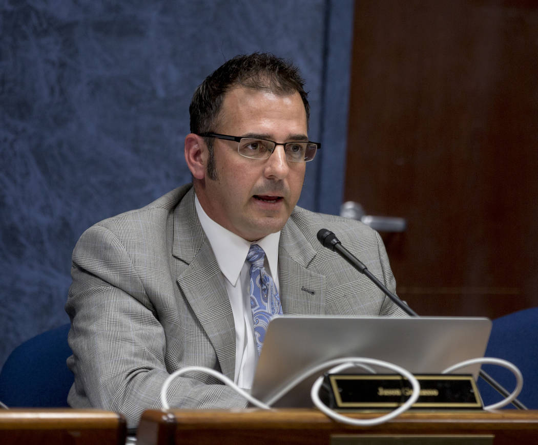 State public charter authority board member Jason Guinasso speaks during a meeting at the Grant Sawyer Building in Las Vegas, Wednesday, Aug. 23, 2017. (Elizabeth Brumley/Las Vegas Review-Journal)