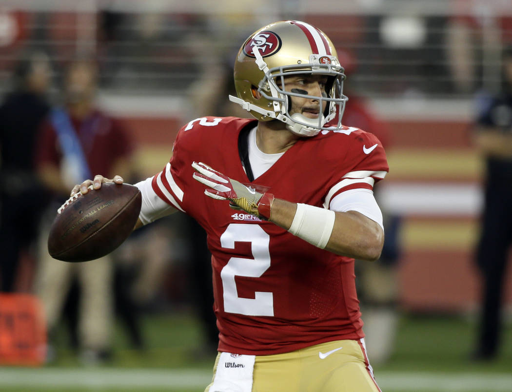 San Francisco 49ers quarterback Brian Hoyer throws against the Denver Broncos during the first half of a preseason NFL football game Saturday, Aug. 19, 2017, in Santa Clara, Calif. (AP Photo/Eric  ...