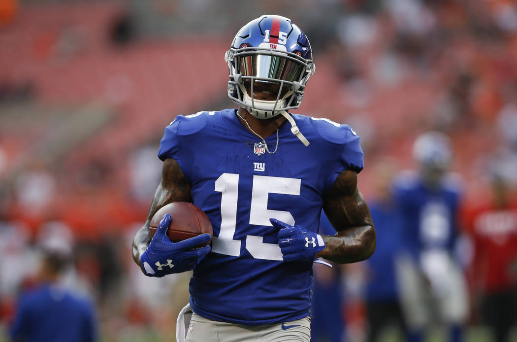 New York Giants wide receiver Brandon Marshall warms up before an NFL football game against the Cleveland Browns, Monday, Aug. 21, 2017, in Cleveland. (AP Photo/Ron Schwane)