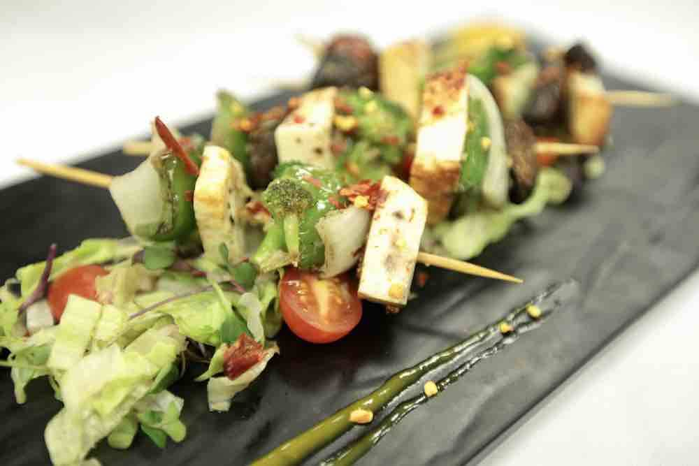 Lemon and herb skewers provide a vegan alternative on the menu. (Courtesy)